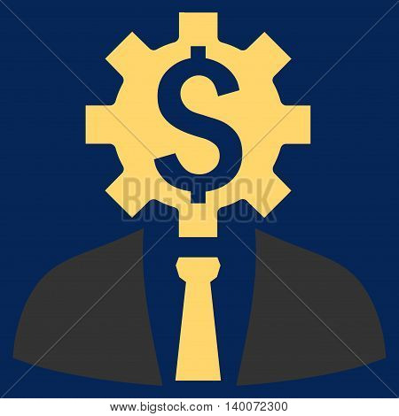 Office Worker vector icon. Style is flat symbol, yellow color, blue background.