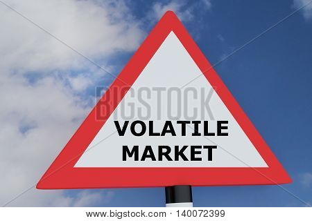 "3D illustration of ""VOLATILE MARKET"" script on road sign. Business concept. poster"