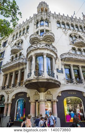 BARCELONA SPAIN - JULY 5 2016: Casa Lleo Morera in Barcelona Spain. Was built in 1902-1906 by Catalan architect Domenech i Montaner.