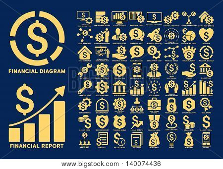 Dollar Finances Flat Vector Icons with Captions. Style is named yellow flat icons isolated on a blue background.