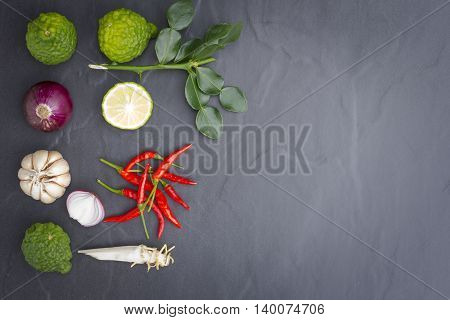 Ingredient or raw food for thai food.Such as Tom-Yum-Kung and curry and etc.