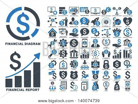 Dollar Finances Flat Vector Icons with Captions. Style is named bicolor smooth blue flat icons isolated on a white background.