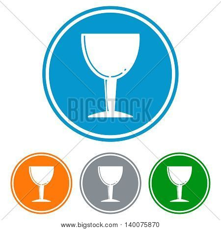 Flat chalice glass for beer icons set vector