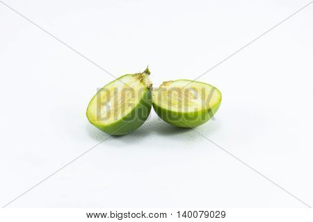 Solanum ferox or Solanum stramonifolium isolated on white background.Native to Thailand and Indonesia