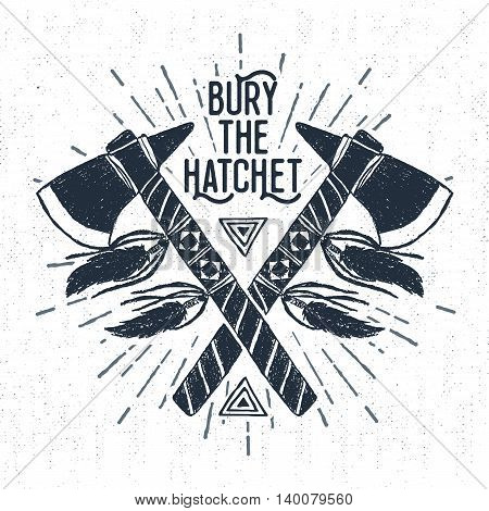 Hand drawn tribal label with textured tomahawks vector illustration and