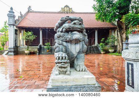 Lion statue in Pagoda at Hanoi city, Vietnam