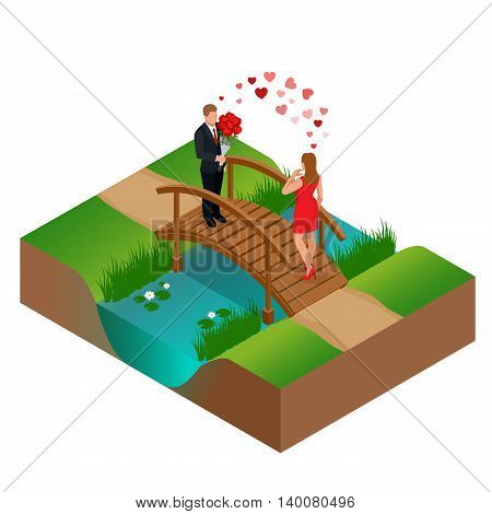 Pair of lovers on bridge. Romantic couple in love meeting. Love and celebrate concept. Man gives a woman a bouquet of roses. Romantic lovers dating. Vector flat 3d isometric illustration
