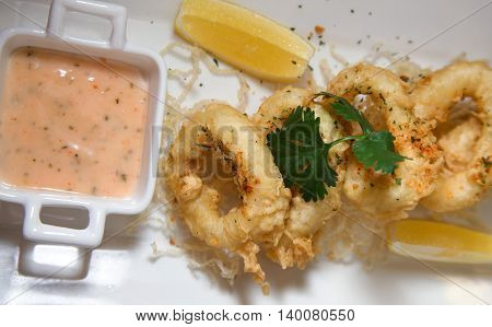 photograph of Calamari or squid ring fried