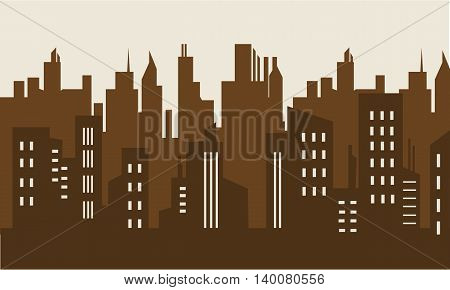 Brown backgrounds building silhouette collection stock illustration