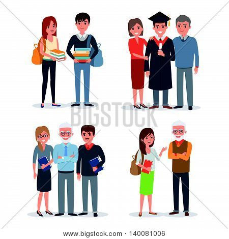 People characters collection: sudents teachers parents. Vector illustration.