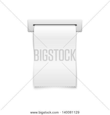 Blank vector shopping cash receipt. Template financial cash receipt, paper cash receipt in slot illustration