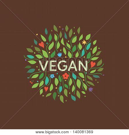 Vegan symbol with floral elements. Vector illustration.
