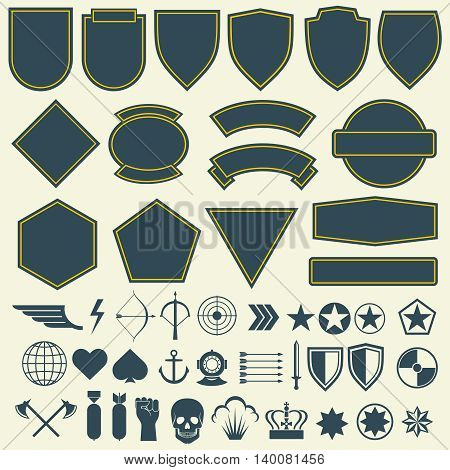 Vector elements for military, army patches, badges. Set of badge for army and military emblem for patch and army illustration poster