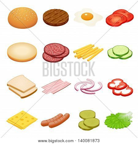 Burger isometric. Burger ingredients on white backgrounds. Ingredients for burgers and sandwiches. Fried egg, onions, beef, cheese, cucumbers and other elements to build custom burger. Tasty snack