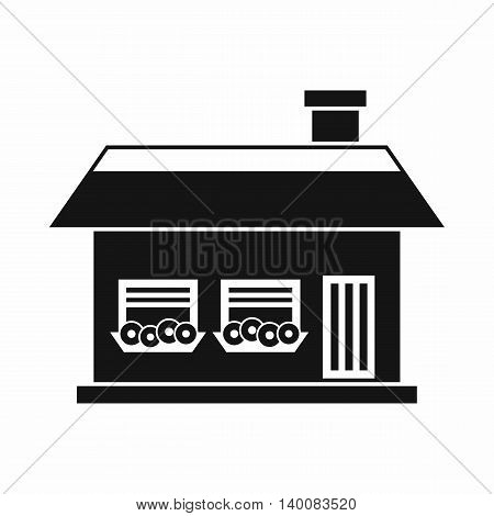 One storey house with two windows icon in simple style isolated on white background. Structure symbol
