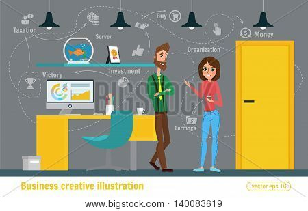 Business Creative Illustration. Women And Man. Businessman Character Office Worker Professional