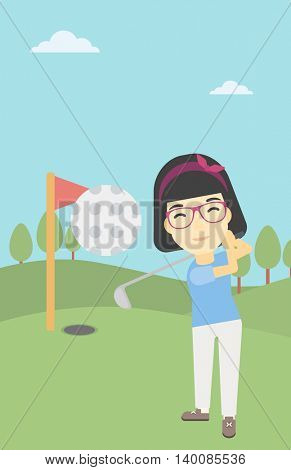 An asian female golfer hitting the ball. Professional female golfer on golf course. Young woman playing golf. Vector flat design illustration. Vertical layout.