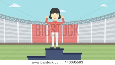 An asian young sportswoman celebrating on the winners podium. Sportswoman standing on the first place on the winners podium with raised hands. Vector flat design illustration. Horizontal layout.