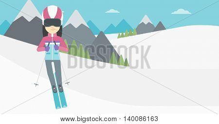 An asian woman skiing on the background of snow capped mountain. Skier skiing downhill in mountains. Female skier on downhill slope. Vector flat design illustration. Horizontal layout.