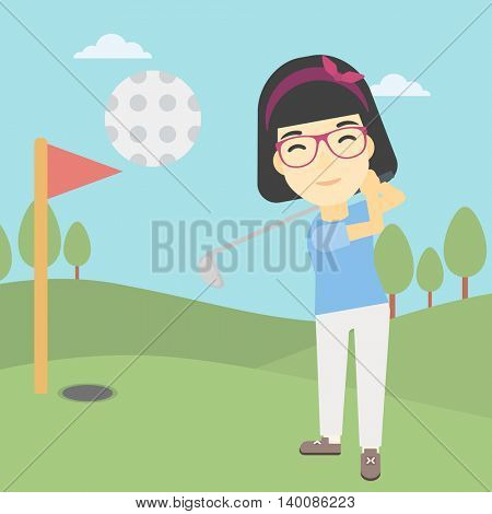 An asian female golfer hitting the ball. Professional female golfer on golf course. Young woman playing golf. Vector flat design illustration. Square layout.
