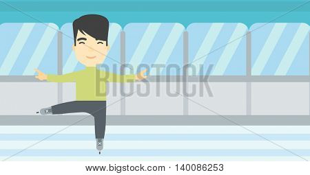 An asian figure skater with the beard performing on indoor ice skating rink. Young hipster male figure skater dancing. Vector flat design illustration. Horizontal layout.