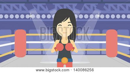 An asian sportswoman in boxing gloves. Young professional female boxer standing in the boxing ring. Vector flat design illustration. Horizontal layout.