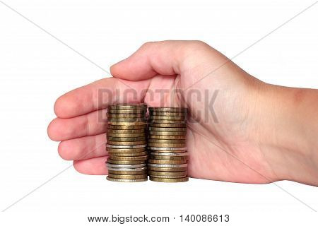 hand covers the monetary savings coins isolated