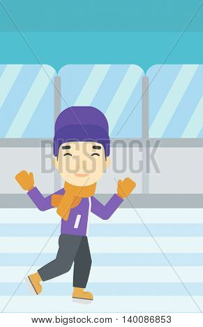 An asian young man ice skating on indoor ice skating rink. Sport and leisure concept. Vector flat design illustration. Vertical layout.