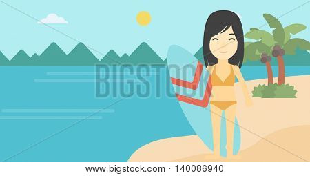 An asian female surfer standing with a surfboard on the beach. Female professional surfer with a surf board at the beach. Vector flat design illustration. Horizontal layout.