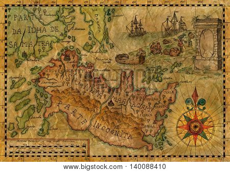 Ancient pirate map with fantasy land, tresure island and sailing ships. Hand drawn illustration