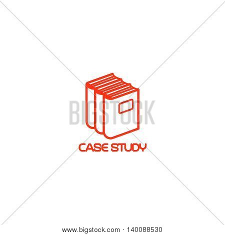 Case study isolated icon with books. Vector illustration