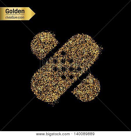 Gold glitter vector icon of bandaid isolated on background. Art creative concept illustration for web, glow light confetti, bright sequins, sparkle tinsel, abstract bling, shimmer dust, foil.