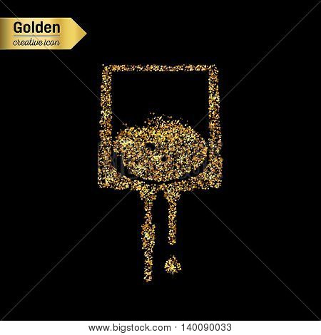 Gold glitter vector icon of iv drip isolated on background. Art creative concept illustration for web, glow light confetti, bright sequins, sparkle tinsel, abstract bling, shimmer dust, foil.
