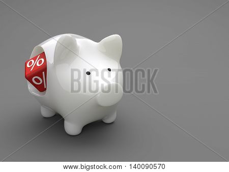 Piggy Bank Red Percent Cube
