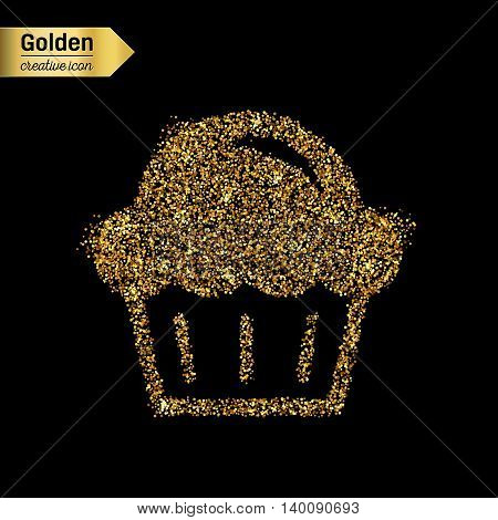 Gold glitter vector icon of muffin isolated on background. Art creative concept illustration for web, glow light confetti, bright sequins, sparkle tinsel, abstract bling, shimmer dust, foil.