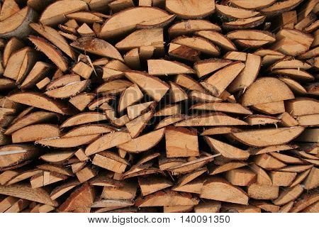 Wooden mosaic from firewood, alternative northern fuel in Russia