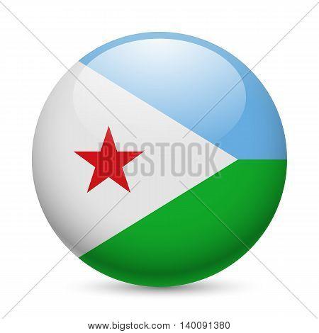 Flag of Djibouti as round glossy icon. Button with Djiboutian flag