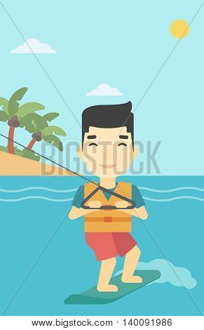 An asian sportsman wakeboarding on the sea. Wakeboarder making tricks. Man studying wakeboarding. Young man riding wakeboard. Vector flat design illustration. Vertical layout.