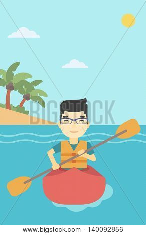 An asian sportsman riding in a kayak in the sea. Young man traveling by kayak. Male kayaker paddling. Man paddling a canoe. Vector flat design illustration. Vertical layout.
