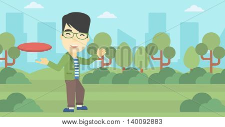 An asian sportive man playing flying disc in the park. Man throwing a flying disc. Sportsman catching flying disc outdoors. Vector flat design illustration. Horizontal layout.