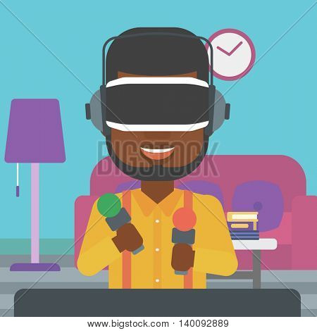 An african-american man wearing virtual reality headset and holding motion controllers in hands. Man playing video games in apartment. Vector flat design illustration. Square layout.