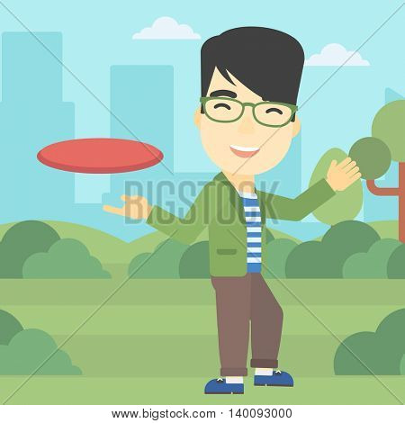 An asian sportive man playing flying disc in the park. Man throwing a flying disc. Sportsman catching flying disc outdoors. Vector flat design illustration. Square layout.