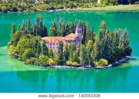 Island of Visovac monastery in Krka national park Dalmatia Croatia