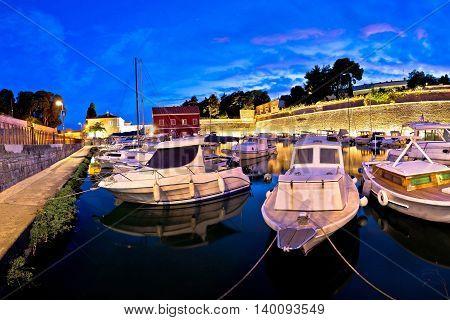 Blue evening in Zadar Fosa harbor Dalmatia Croatia