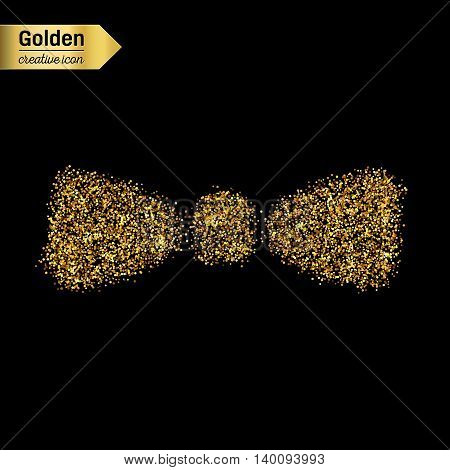 Gold glitter vector icon of bow tie isolated on background. Art creative concept illustration for web, glow light confetti, bright sequins, sparkle tinsel, abstract bling, shimmer dust, foil.