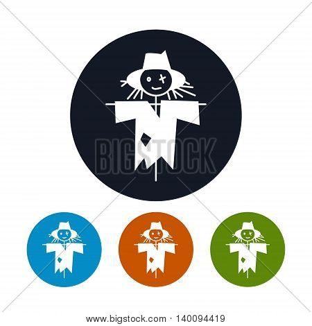 Icon Scarecrow ,Four Types of Round Icons Scarecrow, a Stuffed for Garden, Vector Illustration