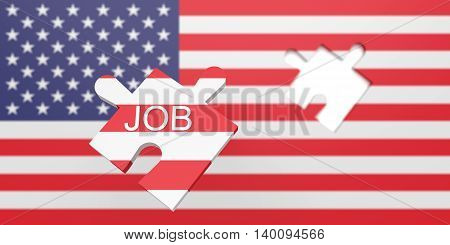 A job in the USA: Missing puzzle piece in US flag 3d illustration