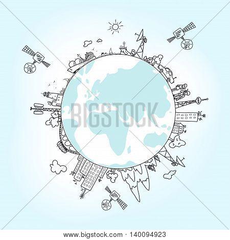 Global information network on the globe, satellites, antennas ,satellite antennas ,repeaters