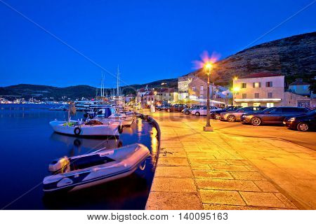 Town of Vis waterfront and harbor evening view Dalmatia Croatia