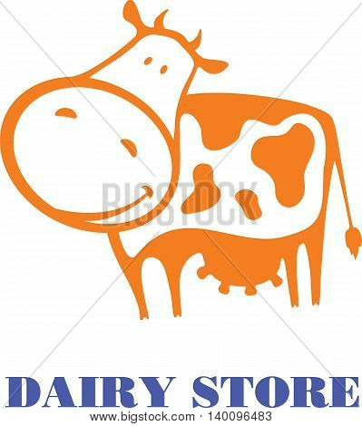 Vector illustration of a cute good orange cow. Template for banner advertising or logo for dairy store dairy company or as element of packaging for dairy products.